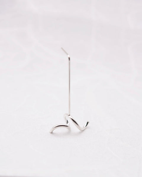 Single sculptural earring in Silver N°2