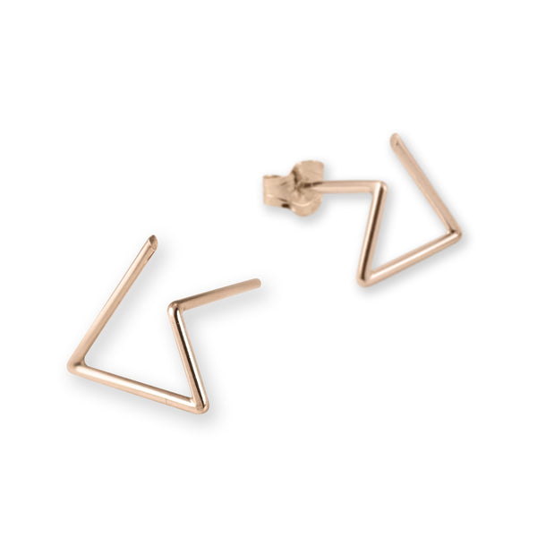 Line triangle earrings N°6 in silver or rose gold filled AgJc  - 5