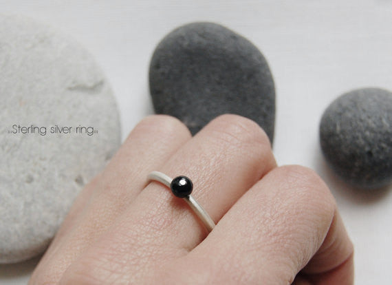 Black matte glass ring N°4 AgJc  - 2