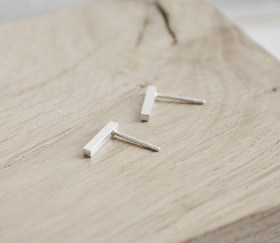 Tiny line earrings N°6 AgJc  - 3