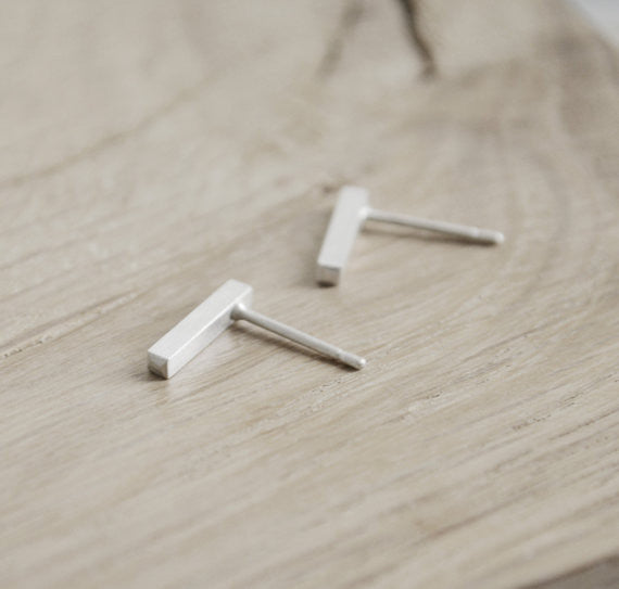 Tiny line earrings N°6 AgJc  - 1