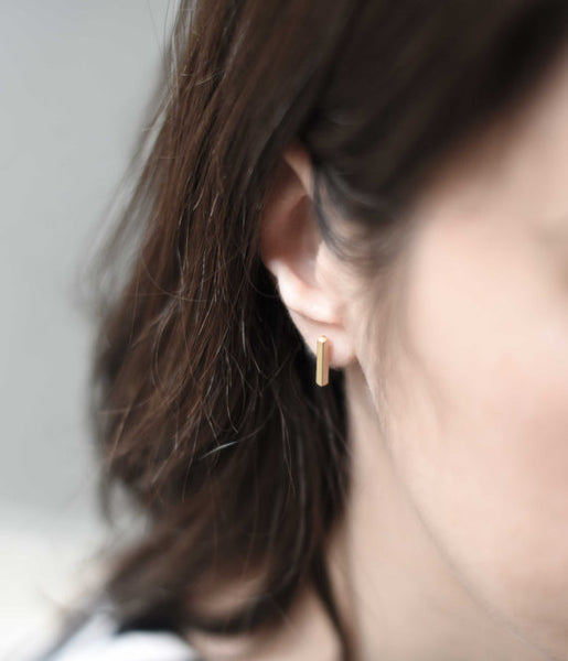 Tiny line earrings N°6 in silver or in gold filled AgJc  - 4