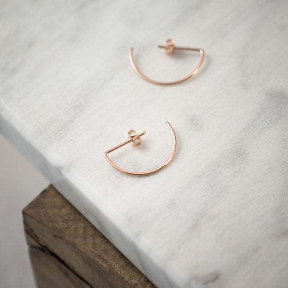 Line hoop earrings N°7 in silver or rose gold filled AgJc  - 2