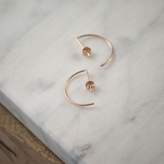 Line hoop earrings N°7 in silver or rose gold filled AgJc  - 4