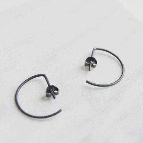 Line hoop earrings N°7 AgJc Oxidized - 6