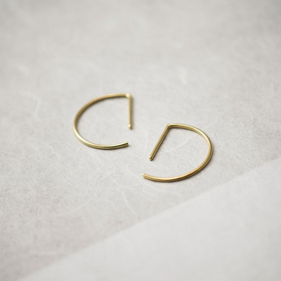 Line hoop earrings N°7 in silver or gold filled AgJc  - 1