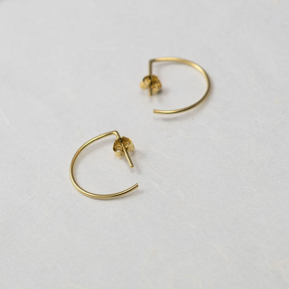 Line hoop earrings N°7 in silver or gold filled AgJc  - 2