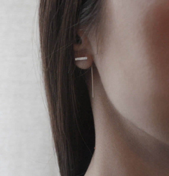 Minimalistic bar line earrings N°10 AgJc  - 4