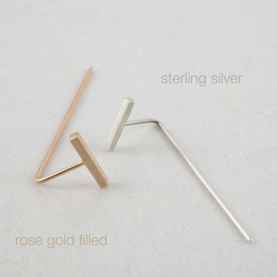 Minimalistic bar line earrings N°10 in silver or rose gold filled AgJc  - 3