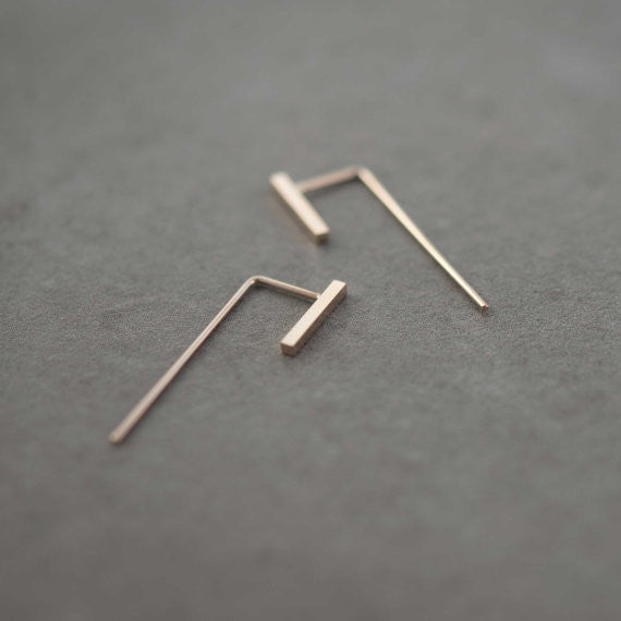 Minimalistic slim bar earrings N°11 in rose gold filled AgJc  - 1