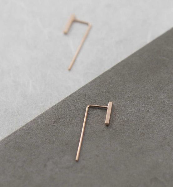 Minimalistic slim bar earrings N°11 in rose gold filled AgJc  - 3