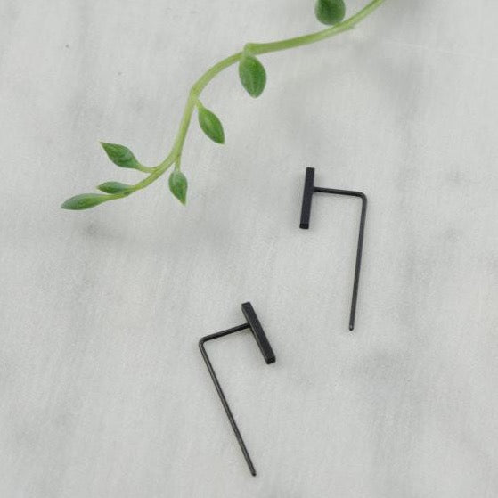 Minimalistic slim bar earrings N°11 AgJc  - 1