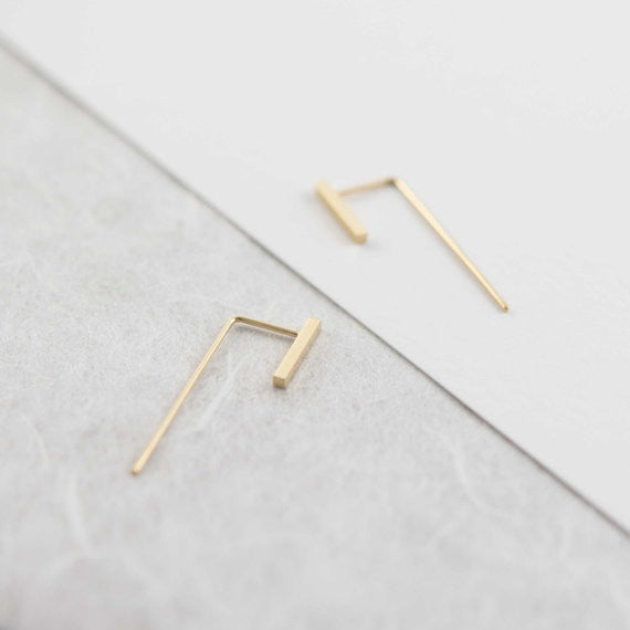 Minimalistic bar ear jackets N°11 in yellow gold filled AgJc  - 1