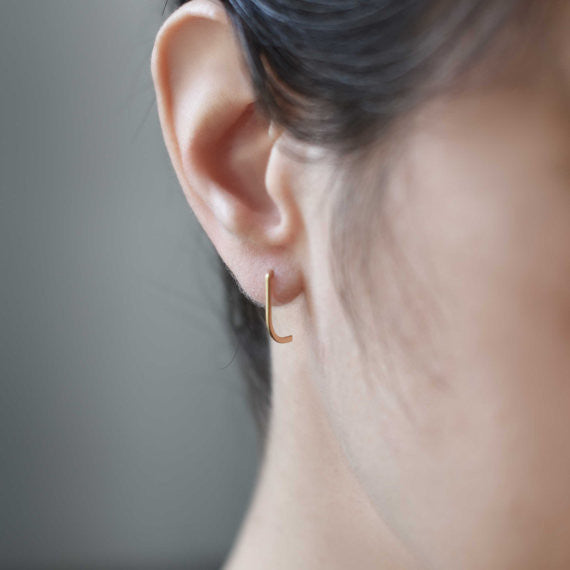 Minimalist line earrings N°12 in silver or gold filled AgJc  - 4