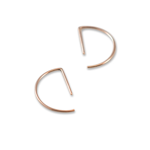 Line hoop earrings N°7 in silver or rose gold filled AgJc  - 6