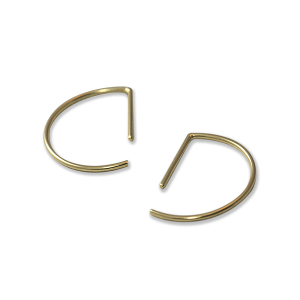 Line hoop earrings N°7 in silver or gold filled AgJc  - 6