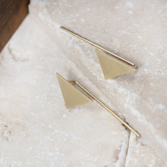 triangular gold earrings by AgJc