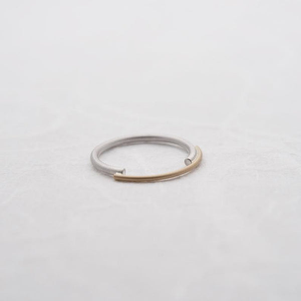 Bridge ring in sterling silver and 18kt solid gold