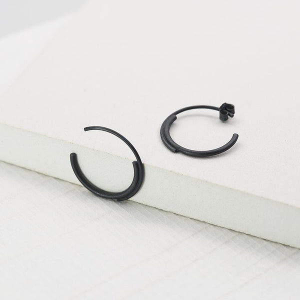Small double hoops in sterling silver