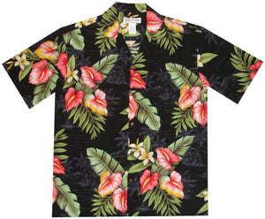 Ky's Black Anthurium Flowers Hawaiian Shirt.