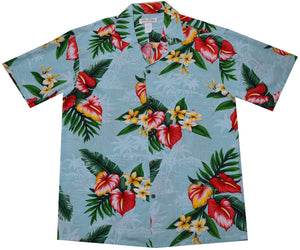 Ky's Blue Anthurium Flowers Hawaiian Shirt.