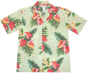 Ky's Green Anthurium Flowers Hawaiian Shirt.
