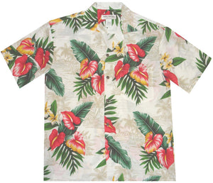 Ky's White Anthurium Flowers Hawaiian Shirt.