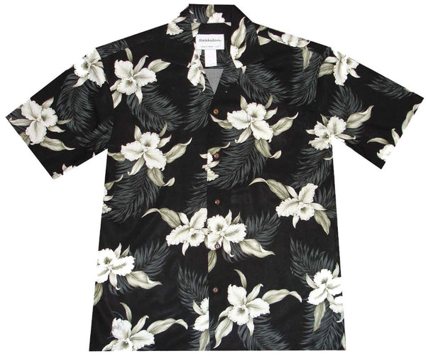 Ky's Black Retro Orchid Hawaiian Shirt.
