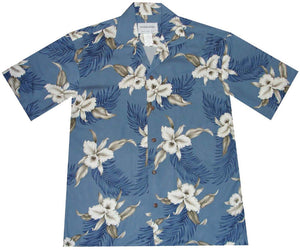 Ky's Blue Retro Orchid Hawaiian Shirt.