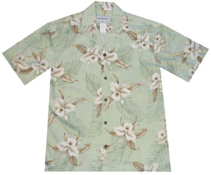 Ky's Green Retro Orchid Hawaiian Shirt.