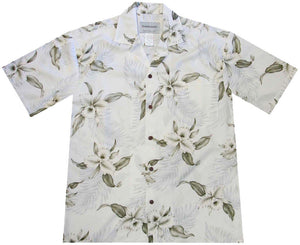 Ky's White Retro Orchid Hawaiian Shirt.
