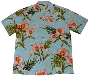 Ky's Green Tropical Coral Orchid Hawaiian Shirt.