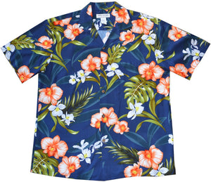 Ky's Navy Blue Tropical Coral Orchid Hawaiian Shirt.