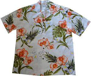 Ky's White Tropical Coral Orchid Hawaiian Shirt.