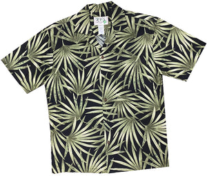 Ky's Black Flourishing Fan Palms Hawaiian Shirt.