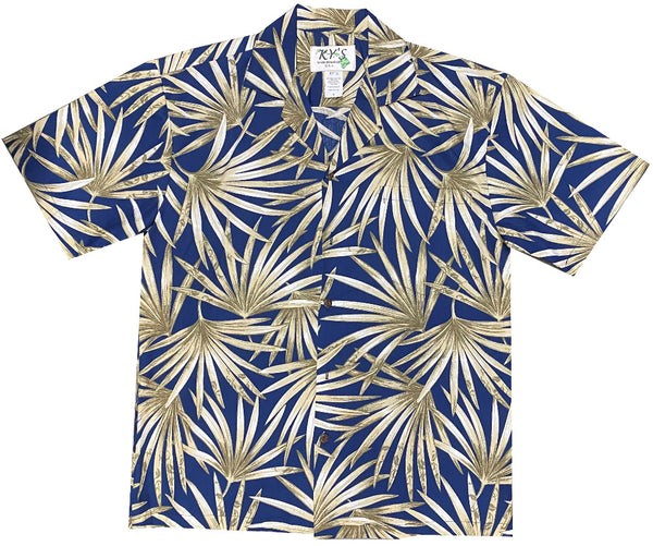 Ky's Navy Blue Flourishing Fan Palms Hawaiian Shirt.
