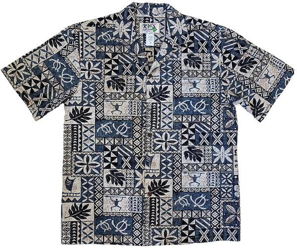 Ky's Grey Honu Tapa Hawaiian Shirt.