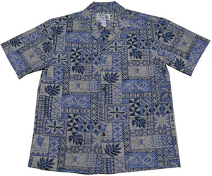 Ky's Blue Honu Tapa Hawaiian Shirt.