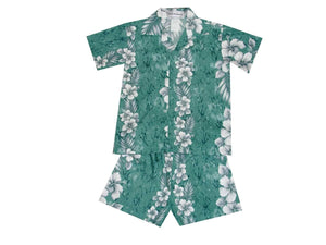 Boy's Set 2 / Green Traditional Hibiscus Panel Boy's Cabana Set