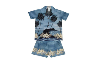 Boy's Set 2 / Grey Palm Tree Silhouette Boy's Cabana Set