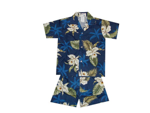 Boy's Set 2 / Navy Blue Classic Orchid Boy's Cabana Set