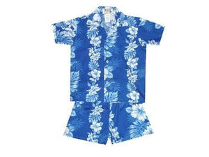 Boy's Set 2 / Navy Blue Floral Lei Panel Boy's Cabana Set