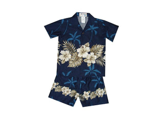 Boy's Set 2 / Navy Blue Hibiscus Row Boy's Cabana Set