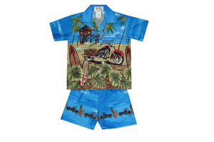 Boy's Set 2 / Navy Blue Motorcycle and Surfboard Boy's Cabana Set
