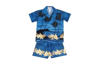Boy's Set 2 / Navy Blue Palm Tree Silhouette Boy's Cabana Set