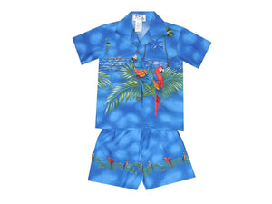 Boy's Set 2 / Navy Blue Parrot Paradise Boy's Cabana Set