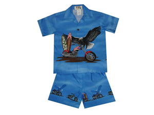 Boy's Set 2 / Navy Blue Patriotic Motorcycle Boy's Cabana Set