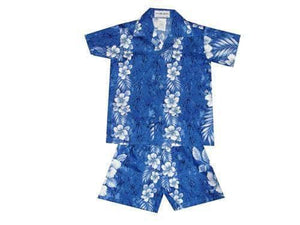 Boy's Set 2 / Navy Blue Traditional Hibiscus Panel Boy's Cabana Set