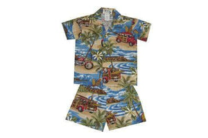 Boy's Set 2 / Navy Blue Woody and Motorcycle Boy's Cabana Set