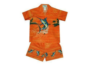 Boy's Set 2 / Orange Jumping Marlin Boy's Cabana Set